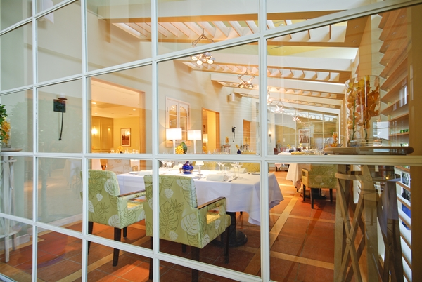 interior of modern restaurant in classic with glass